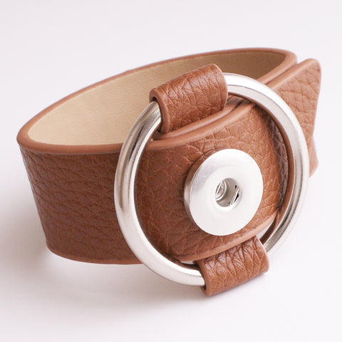 NEW   18mm  PU leather Snap button jewelry  bracelet   GIRLS  Women  BR2301