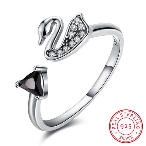 925 Sterling Silver Ring Retro Swan openings creative ring 032