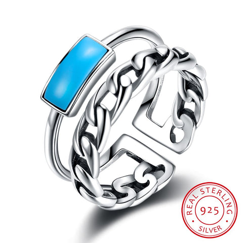 925 Sterling Silver Ring Fashionable retro wind turquoise 033