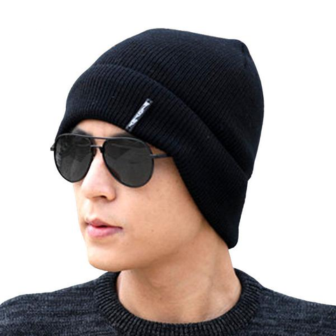 Winter Solid Color Thick Warm Crochet Knitted Caps Unisex Black