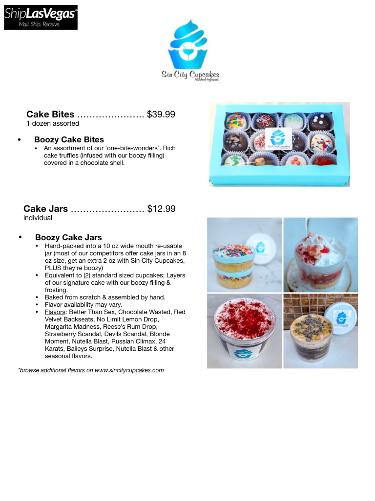 Ship Las Vegas Walk-In Purchase Menu Sin City Cupcakes