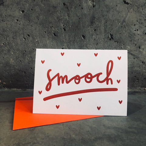 Smooch Valentines Card - A6 Greetings card with red envelope - Printed on quality recycled card