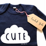 CUTE' Babygrow in navy - Super soft, 100% organic cotton with long sleeves, 3-6 months upto 12-18 months