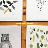 * NEW ART PRINTS  * Choose from 5 designs, 100% recycled paper, size A4, unframed