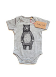 Bear Babygrow/Babyvest * Mr Bear Short sleeved * Screen printed on super soft cotton - available in white & grey, in sizes 0-3 months upto 12 months * Gift wrapped too*