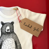 *NEW* SHORT SLEEVED MR BEAR Baby grow - from newborn! * Upto 12 months * SUPER SOFT *Screen printed design, on white & grey cotton!