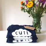 New! 'CUTE' BABYGROW in navy - Super soft, 100% organic cotton with long sleeves