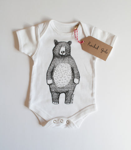 Mr Bear Babygrow/Babyvest * Short sleeved * Screen printed on super soft cotton - available in white & grey, in sizes 0-3 months upto 12 months * Gift wrapped too*