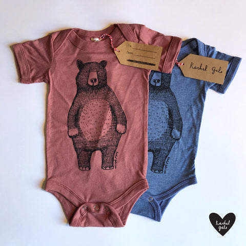 NEW! Bear Babygrow/Babyvest * Mr Bear Short sleeved * Screen printed on super soft cotton - now in BLUE & MAUVE - Gift wrapped too*