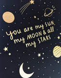 Sun, Moon and Stars Navy & Gold A4 Print