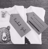Mr Bear Babygrow/Babyvest * Long sleeved * Screen printed on super soft, 100% organic cotton - white, in sizes 3-6 months upto 12-18 months * Gift wrapped too *