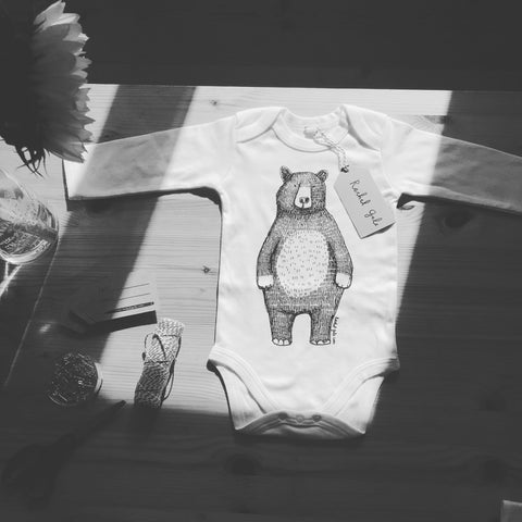 * NEW! * Long sleeved * Super soft, 100% organic WHITE cotton BEAR Baby grow- Ethically made!...FREE postcard bundle with each order!