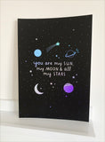 Sun, Moon and Stars Black & Silver A4 Print- with Rainbow holographic!