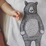 Mr Bear Babygrow/Babyvest * Long sleeved * Super soft, 100% organic cotton - WHITE & GREY -3 sizes available