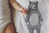 Super soft, 100% organic WHITE cotton BEAR Baby grow- Ethically made! FESTIVE OFFER- FREE BOOK & CHRISTMAS CARD with every Baby grow!