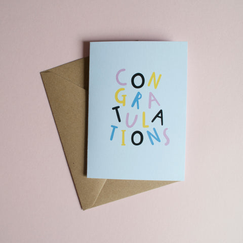 CONGRATULATIONS - A6 Greetings card with envelope - Printed on quality recycled card
