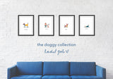 * The Doggy Collection * NEW art prints, 4 doggy designs * 100% recycled paper, A4 unframed,