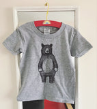 Mr Bear Kids Tees - WHITE cotton, sizes 1-2yrs - 7-8yrs