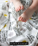 You Are My Sunshine Baby Muslin - 100% bamboo, 60 x 60cm square, NEW to The Lullaby Collection
