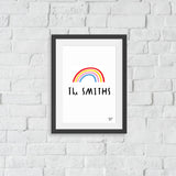 NEW 'Be a RAINBOW' Personalised Name art print- size A4