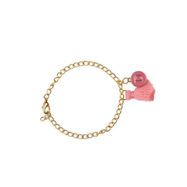 The Omnia Design Company Bracelets Initial Bracelet in Dark Pink The Omnia Design Company