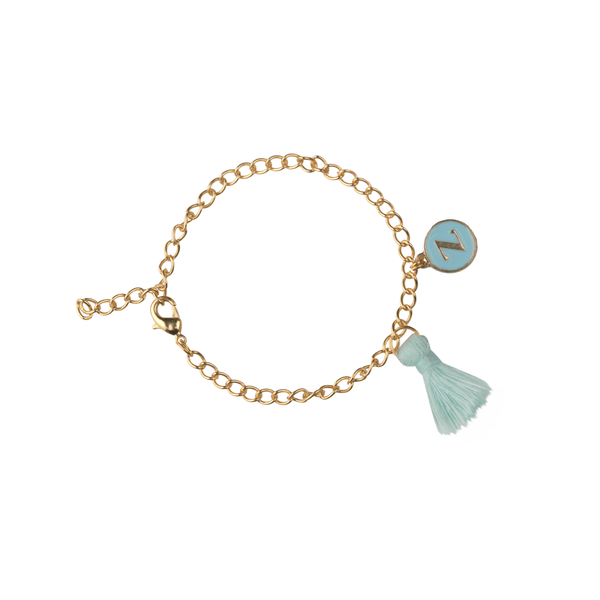 The Omnia Design Company Bracelets Initial Bracelet in Light Blue The Omnia Design Company