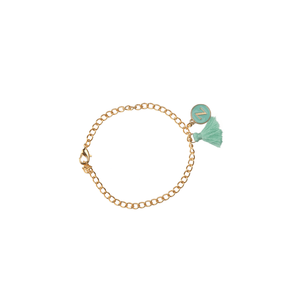 The Omnia Design Company Bracelets Initial Bracelet in Sea Green The Omnia Design Company