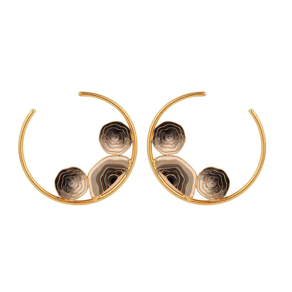 Madiha Jaipur Earrings Abyss Moon Hoops in Black