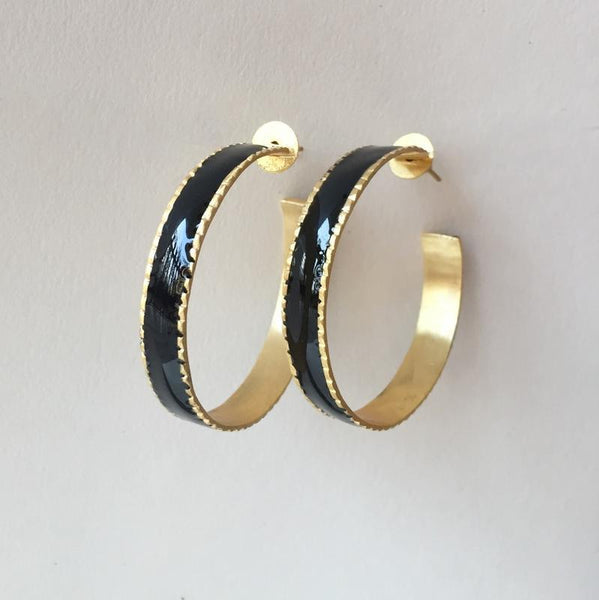 In stock Earrings Black Enamel Hoop Earrings The Omnia Design Company