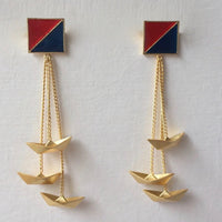 In Stock Earrings Blue & Red The Parish Earrings The Omnia Design Company