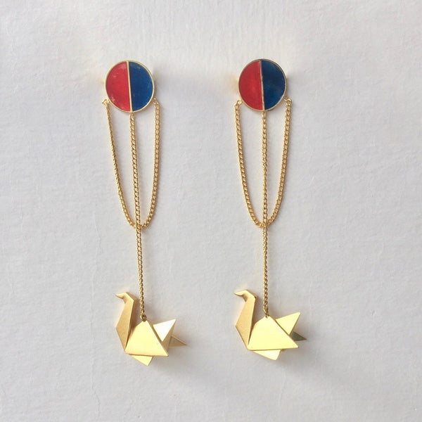 In Stock Earrings Blue & Red The Safeena Earrings The Omnia Design Company