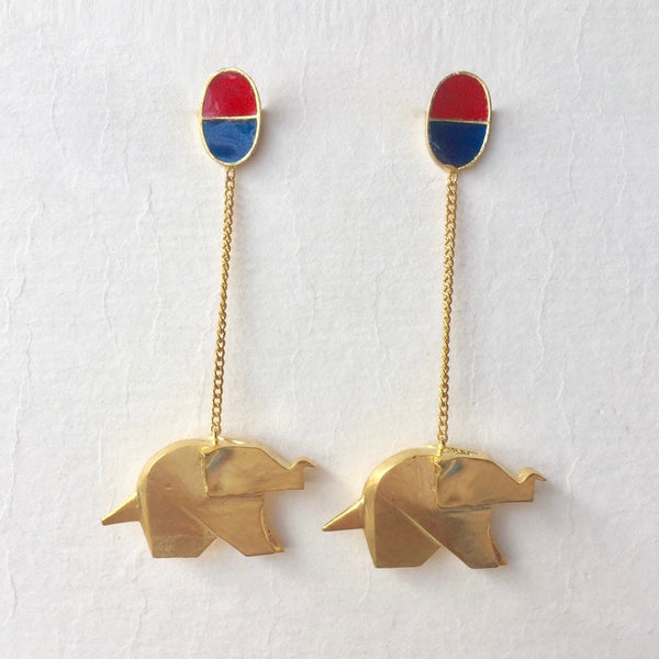 In Stock Earrings Blue & Red The Seher Earrings The Omnia Design Company