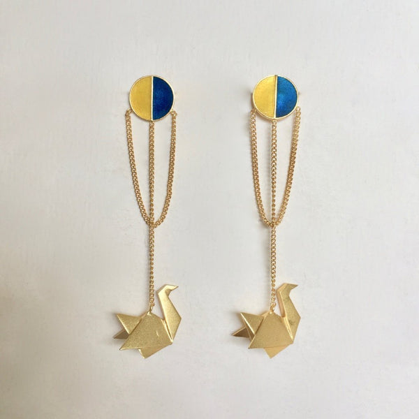 In Stock Earrings Blue & Yellow The Safeena Earrings The Omnia Design Company