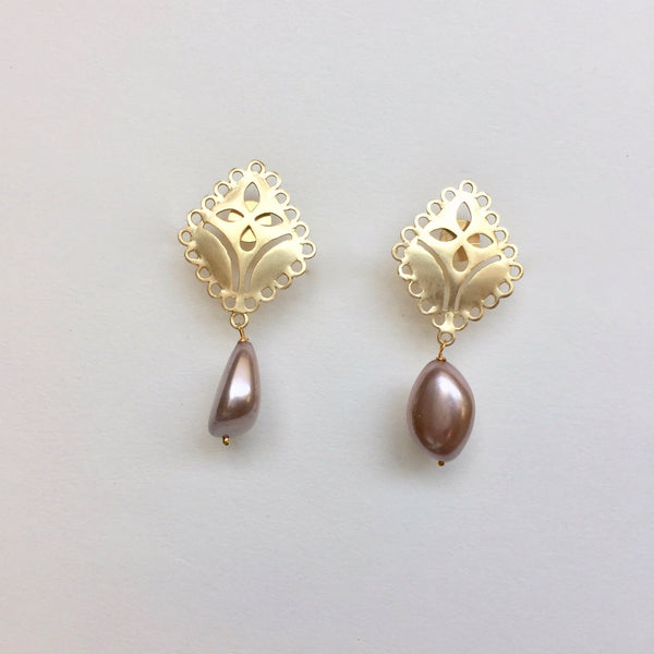 In stock Earrings Brown Pearl Drop The Patrice Earrings The Omnia Design Company