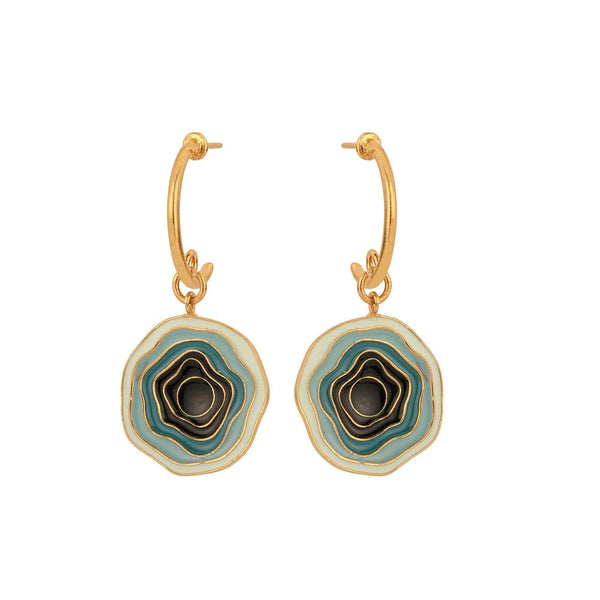 Madiha Jaipur Earrings Gradation Drop Bali in Blue