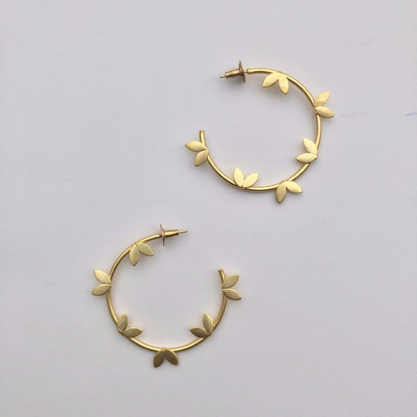 The Omnia Design Company Earrings Leaf Hoops The Omnia Design Company
