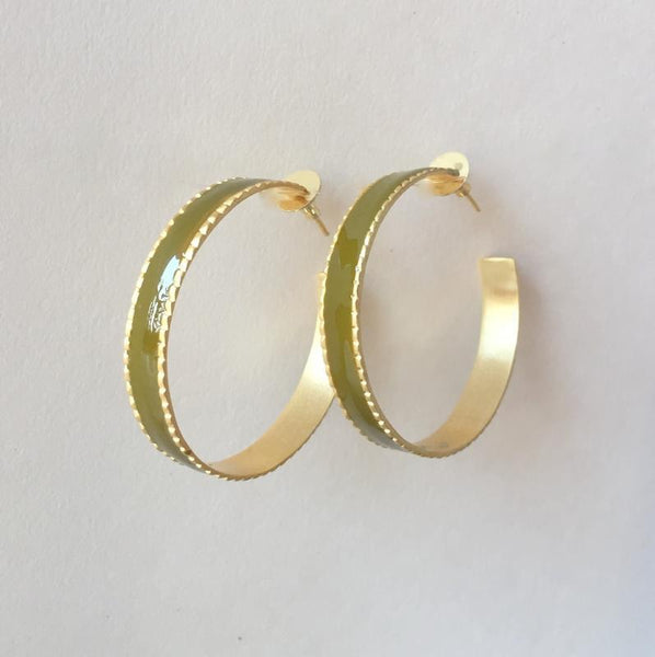 In stock Earrings Military Green Enamel Hoop Earrings The Omnia Design Company
