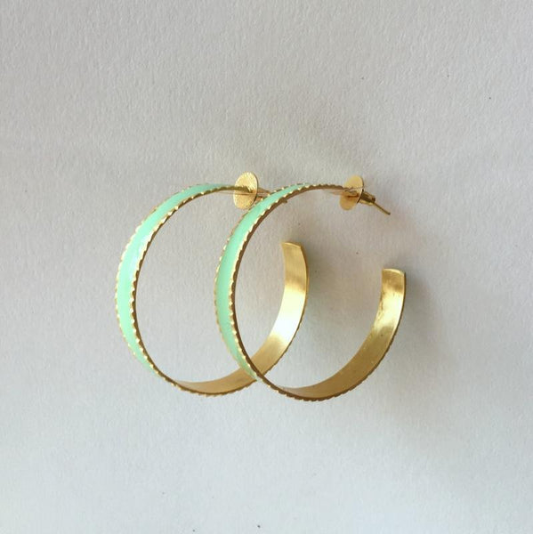 In stock Earrings Mint Enamel Hoop Earrings The Omnia Design Company