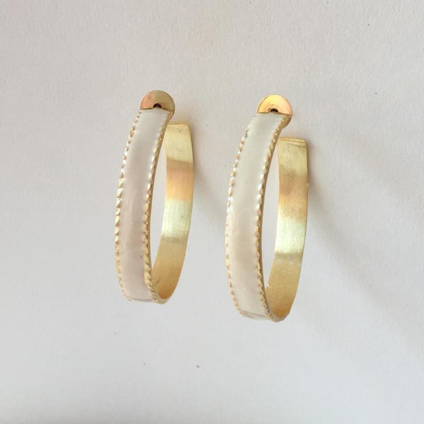In stock Earrings Off White Enamel Hoop Earrings The Omnia Design Company