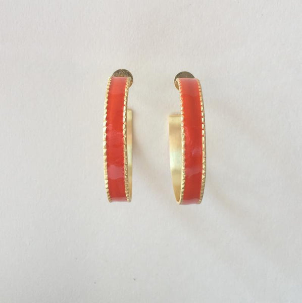 In stock Earrings Orange Enamel Hoop Earrings The Omnia Design Company