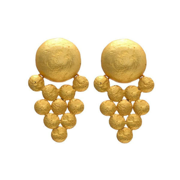 Te Maya Earrings Patterned Gold Earrings The Omnia Design Company