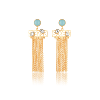 The Omnia Design Company Earrings Stone Chain Earrings in Blue The Omnia Design Company