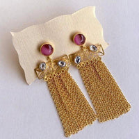 The Omnia Design Company Earrings Stone Chain Earrings in Rose