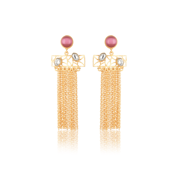 The Omnia Design Company Earrings Stone Chain Earrings in Rose The Omnia Design Company