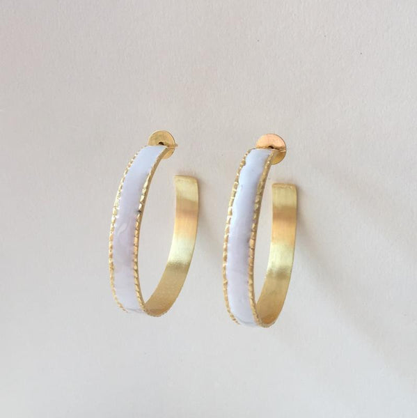 In stock Earrings White Enamel Hoop Earrings The Omnia Design Company