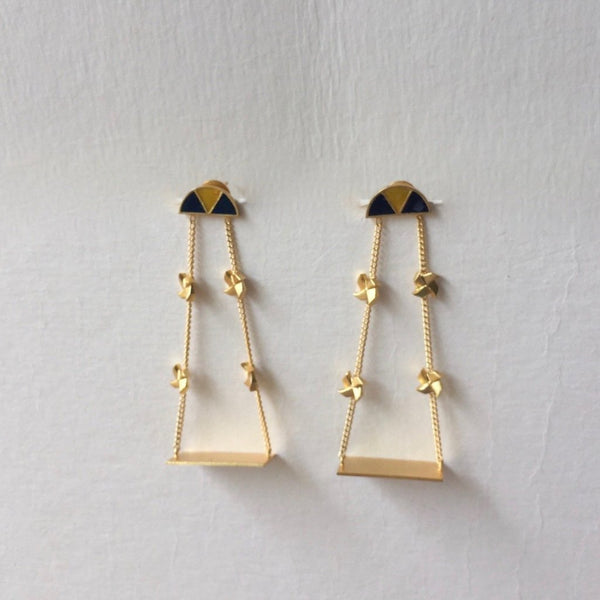 In Stock Earrings Yellow and Blue The Noor Earrings The Omnia Design Company