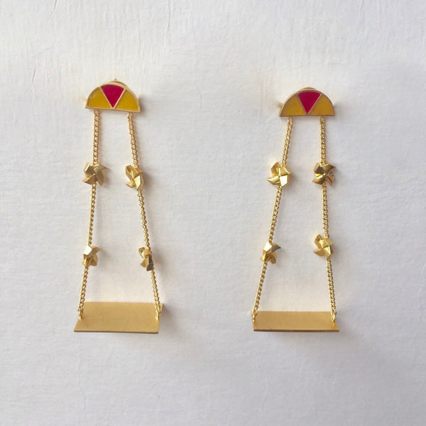 In Stock Earrings Yellow and Pink The Noor Earrings The Omnia Design Company