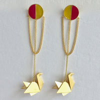 In Stock Earrings Yellow and Pink The Safeena Earrings The Omnia Design Company