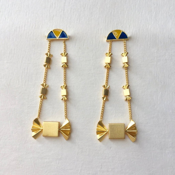 In Stock Earrings Yellow & Blue The Jannat Earrings The Omnia Design Company