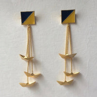 In Stock Earrings Yellow & Blue The Parish Earrings The Omnia Design Company